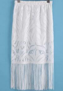 White Elastic Waist Lace Tassel Skirt