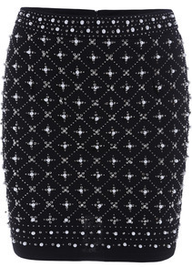 Black Bead Bodycon Skirt