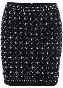 Black Bead Bodycon Skirt