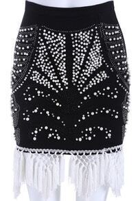 Black Bead Tassel Bodycon Skirt