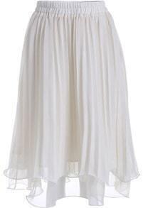Beige Elastic Waist Pleated Skirt