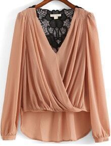 Apricot V Neck Cross Front Dip Hem Blouse