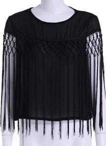 Black Round Neck Tassel Chiffon Blouse