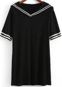 Black Peplum Collar Striped Loose Blouse