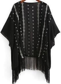 Black Embroidered Loose Tassel Kimono