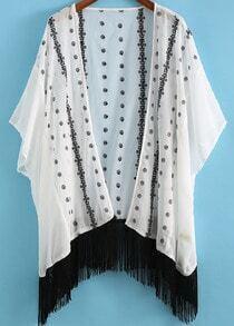 White Embroidered Loose Tassel Kimono