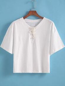 White Bandage Collar Crop Loose T-Shirt