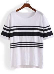 White Short Sleeve Striped Loose T-Shirt