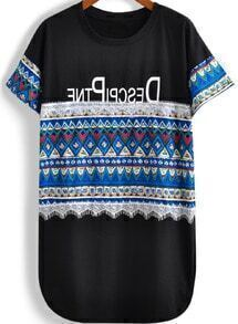 Black Short Sleeve Tribal Print Loose T-Shirt