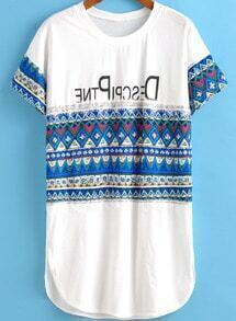 White Short Sleeve Tribal Print Loose T-Shirt