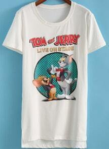 White Short Sleeve Tom and Jerry Print T-Shirt
