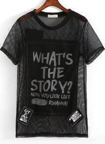 Black Short Sleeve Letters Print Mesh T-Shirt