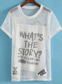White Short Sleeve Letters Print Mesh T-Shirt
