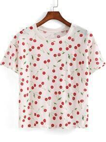 White Round Neck Cherry Print Crop T-Shirt