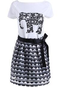 White Short Sleeve Elephant Print Top With Striped Skirt