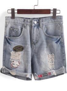 Blue Ripped Straight Denim Shorts