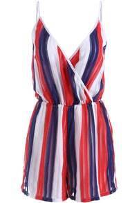 Red Blue Spaghetti Strap Vertical Stripe Jumpsuit