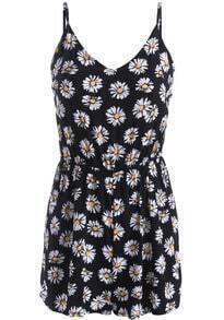 Black Spaghetti Strap Daisy Print Backless Jumpsuit