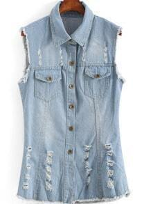 Blue Lapel Sleeveless Ripped Bleached Denim Vest