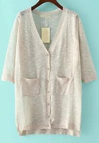 Khaki V Neck Pockets Split Cardigan