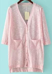 Pink V Neck Pockets Split Cardigan