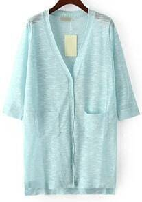 Blue V Neck Pockets Split Cardigan