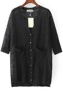 Black V Neck Pockets Split Cardigan