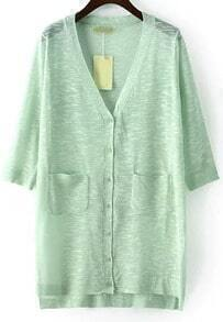 Green V Neck Pockets Split Cardigan