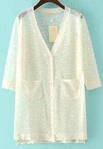 White V Neck Pockets Split Cardigan