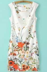 White Sleeveless Floral Slim Bodycon Dress