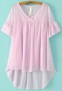 Pink V Neck Ruffle Sleeve Dip Hem Two Pieces Blouse