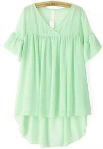 Green V Neck Ruffle Sleeve Dip Hem Two Pieces Blouse