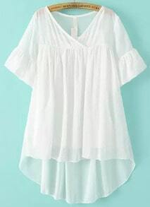White V Neck Ruffle Sleeve Dip Hem Two Pieces Blouse