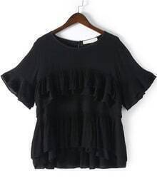 Black Round Neck Cascading Ruffle Loose Blouse