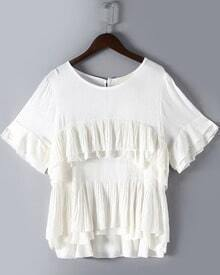 White Round Neck Cascading Ruffle Loose Blouse