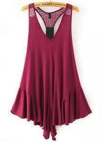 Wine Red V Neck Lace Loose Jumpsuit