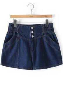 Navy Elastic Waist Buttons Denim Shorts