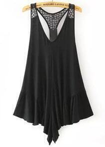 Black V Neck Lace Loose Jumpsuit