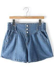 Blue Elastic Waist Buttons Denim Shorts
