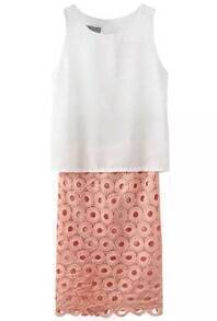White Round Neck Tank Top With Pink Hollow Skirt