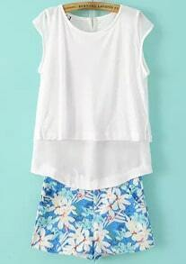 White Cap Sleeve Split Back Top With Floral Shorts