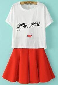 White Eyes Print Top With Red Pleated Skirt