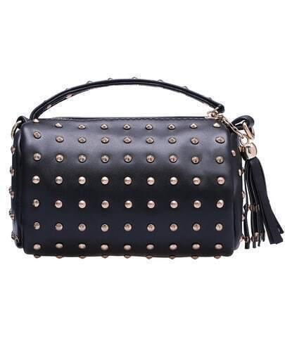 Black With Rivet Zipper Shoulder Bag