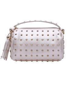 Silver With Rivet Zipper Shoulder Bag