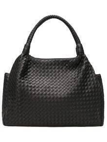 Black Plaited PU Shoulder Bag
