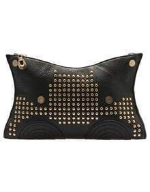 Black With Rivet Zipper Shoulder Bag