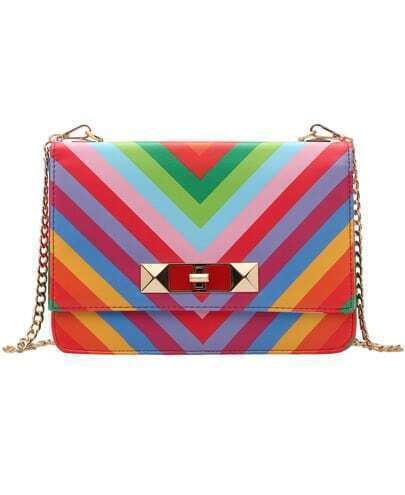 Multicolor Twist Lock Chain Shoulder Bag