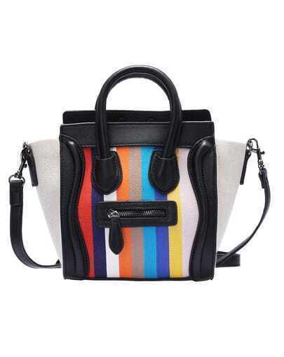Black Vertical Striped PU Shoulder Bag
