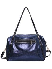 Blue Zipper PU Shoulder Bag