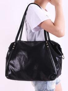 Black Zipper PU Shoulder Bag